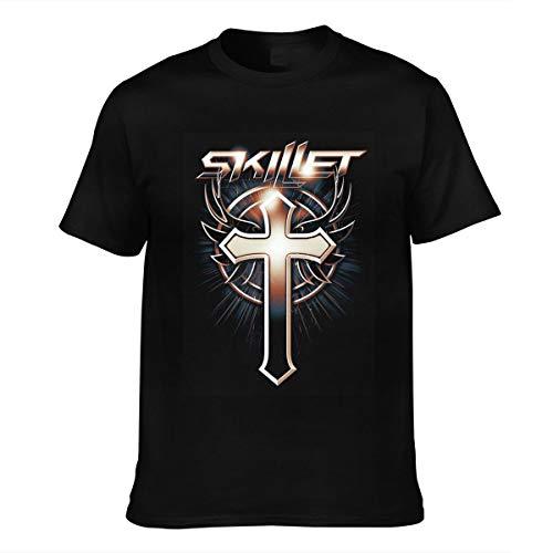 Herren Skillet Logo Vintage Baumwolle Tee Shirts Bekleidung T Shirt Kurzärmlig Crew Neck Männer Black S T-Shirt Für Men