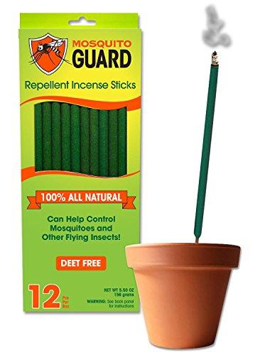 Mosquito Guard Incenso Repellente - 100% Tutti i bastoni di incenso Repellente Naturale - bambù incenso di 12' infuso con Citronella