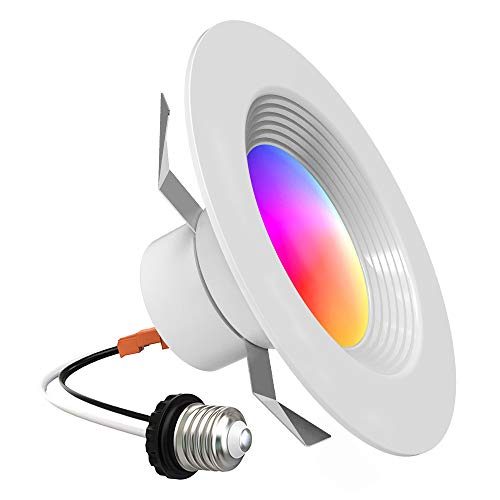 Smart Recessed Lighting - Lumary 5/6 inch WiFi Led Downlight Color Changing Can Light Music Sync 13W 1100lm Compatible with Alexa Google Assistant No Hub Required 13W 1100LM (5/6 in WiFi- 1 Pack)