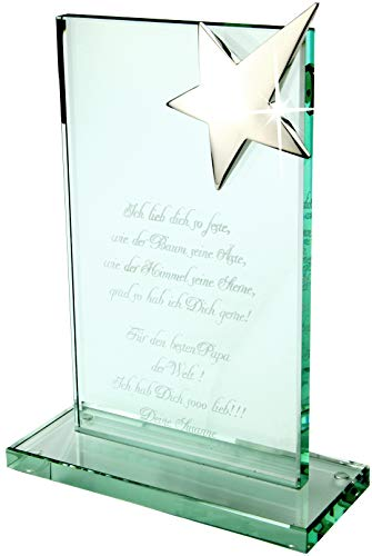 Die geniale Glastrophäe für besondere Ehrungen mit Stern und Lasergravur BIS MAXIMAL 50 Zeichen!