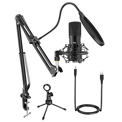 Tisy USB Streaming Podcast Microphone Kit, Computer PC Microphone Professional Cardioid Condenser Mic with Boom Arm Stand Shock Mount for Instruments Vocal Recording Podcasting Gaming YouTube