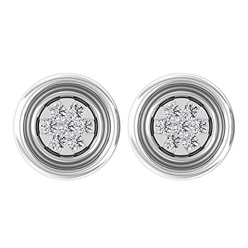 Unique 1/3 CT Round Certified Diamond Cluster Stud Earring, Solid Gold Engraved Filigree Mix Metal Earring, Vintage Comfortable Bridal Wedding Earring, 18K White Gold, Pair