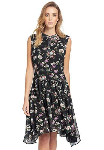 khujo Damen Kleid Tawni gefüttertes Sommerkleid mit sommerlichem Print auf Chiffon