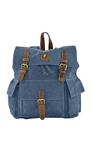 Cactus Canvas and Distressed Oiled Leather Large Backpack 832_82 Denim