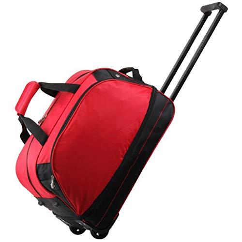 LXIANGP Tragbare Trolley-Tasche Reisetaschen Handgepäck mit Rollen Reisetasche mit Rollen 45L bis 55L for Damen und Herren Hohe Kapazität (Color : Red)