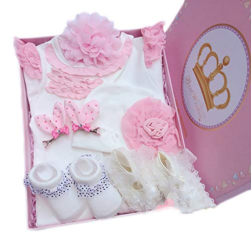 JUNBABY Coffret Cadeau Naissance, Boite Cadeau Anniversaire Bébé, Costume en Coton, Combinaison Style Princesse,-White-L