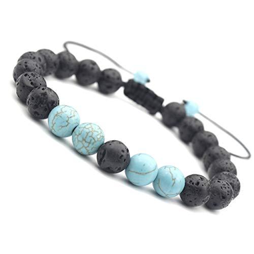 Longspeed Pulseras Trenzadas Pulsera de Cuentas de Lava de Piedra Natural Brazaletes de Yoga Joyería Pulsera de Cuentas de Piedra Azul Hecha a Mano - Azul