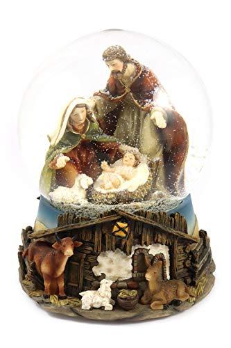Creation Gross Schneekugel mit Spieluhr (Stille Nacht) Krippenspiel (Maria, Josef, Jesus) H.: 20cm Ø150mm