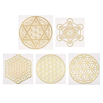 Lychee 5pcs Sacred Geometry Copper Orgone Sticker Flower Life Tree DIY Energy Tower Material