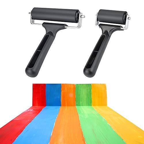 YOUKCDT 2 Stück Gummiwalze 2 Modelle Linolwalze Schwarz Linolfarbwalze mit Griff Gummiroller 11cm Andrückroller für Blockdruck Stanzwerkzeuge rutschfeste Bandkonstruktionswerkzeuge Druckfarben