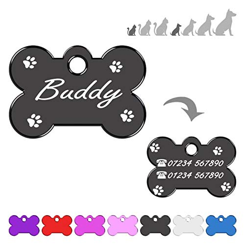 Iberiagifts - Bone ID Tag with paws For very Small Pets or puppies, For Dogs And Cats, Engraved And Personalised (Black)