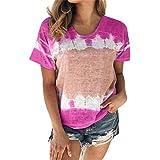 DREAMING-Camiseta de algodón con Cuello Redondo y Manga Corta teñida con Lazo...