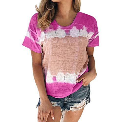 DREAMING-Camiseta de algodón con Cuello Redondo y Manga Corta teñida con Lazo Superior para Mujer M