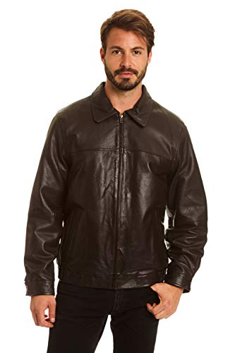 Excelled Men's Big and Tall Lambskin Shirt Collar Bomber Jacket, Brown, 4X