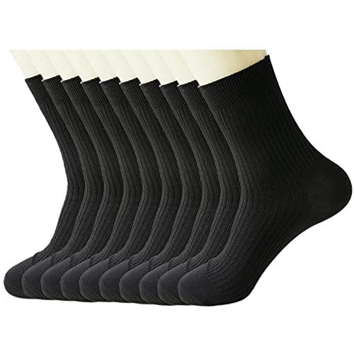 RTBQJ-AT Paquete de 10 Calcetines Atléticos de Algodón para Hombre, Transpirable Calcetines Deportivos para Correr, Calcetines formales de negocios para hombres, color: Negro, tallas: EU 38-42