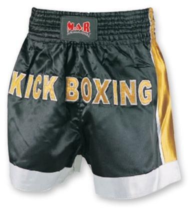M.A.R International Ltd. - Pantalones Cortos de Boxeo tailandés y Kickboxing para Artes Marciales Mixtas, Ropa de Boxeo Muay Thai K1 Gear Tela de poliéster Satinada, Color Negro