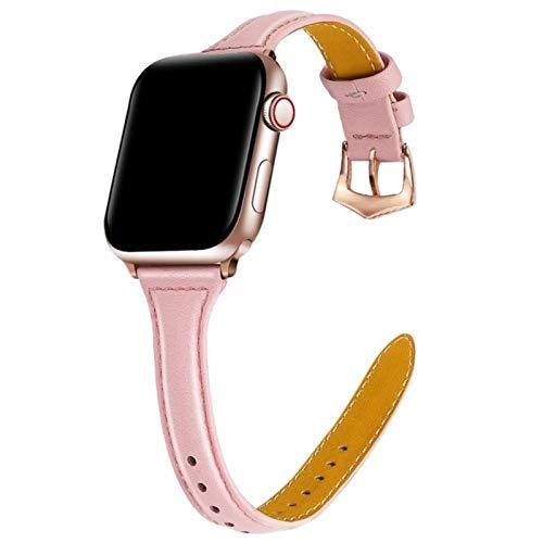 Pulsera Cinturón Banda de cuero para Apple Watch 42MM 38MM 44MM 40MM Correa para IWatch Series 5 4 3 2 1 Accesorios de correa de reloj-Rosa, Para 42 mm o 44 mm