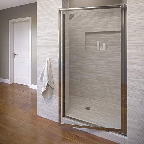 Basco Sopora 27.25- 29 in. Width, Pivot Shower Door, Clear Glass, Silver Finish