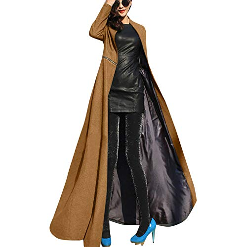 WUDUBE Giacca da Donna a Lunghezza Intera Cappotto Winder Breaker Slim Fit Lungo Trench Outwear Parka