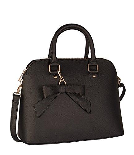 SIX Klassische Handtasche: Geräumige Henkeltasche mit Schleifenanhänger, Abnehmbarer Riemen, schraffiertes Kunstleder (vegan), schwarz (427-485)