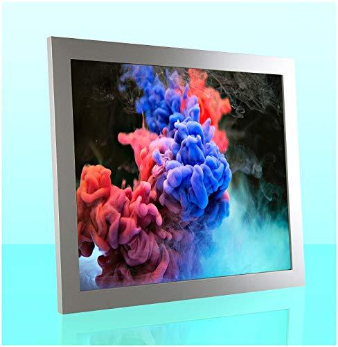 Montecarlo Deluxe Slimline Bilderrahmen Posterrahmen 60x90 cm Mattsilber Silber Matt 90x60 cm mit weissem Hintergrund und Antireflex entspiegeltem Kunstglas