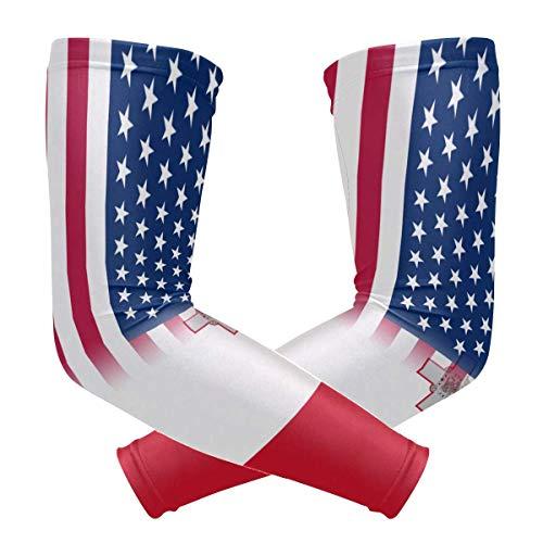 USA Malta Bandiera di Raffreddamento del Braccio Maniche Copertura UV Protezione solare per Uomini Donne Running Golf Ciclismo Braccio Maniche 1 Paio