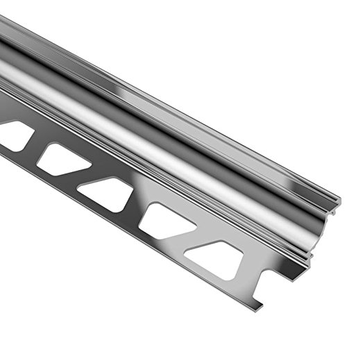 Schluter DILEX-AHK - Cove Shaped Profile - For 1/2' Floor and 1/2' Wall Tile - 8' 2-1/2' Length - Polished Chrome Anodized Aluminum