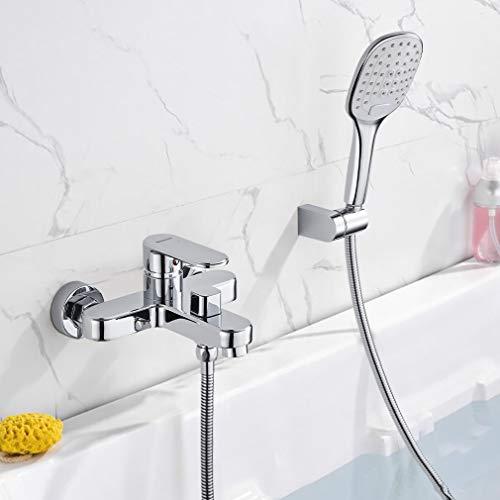 WOOHSE Badewannenarmatur mit 3 Funktionen Handbrause, Mischbatterie Badewanne Armaturen Set Wand, Wasserhahn Dusche mit 1,5m Duschschlauch, Badarmatur Badewanne für Badezimmer