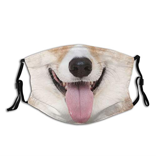 ainidamiss Shiba Inu Dog Tongue Out Washable Reusable Dust Filter and Reusable Face Mouth with Activated Carbon Windproof