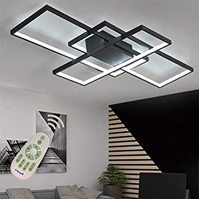 LED Modern Ceiling Light Flush Mount Square Living Room Lamp Dimmable with Remote Control Acrylic-Shade Chandelier Pendant Lighting for Dinning Room Bedroom Bathroom Kitchen Fixture