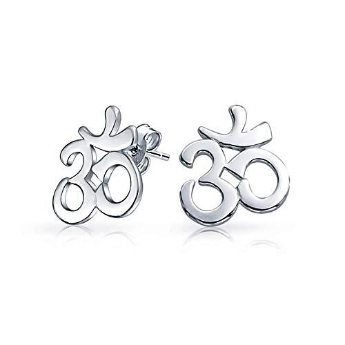 Zen Yoga Om Aum Cut Out Symbol Stud Earrings For Women Teen Yogi 925 Sterling Silver