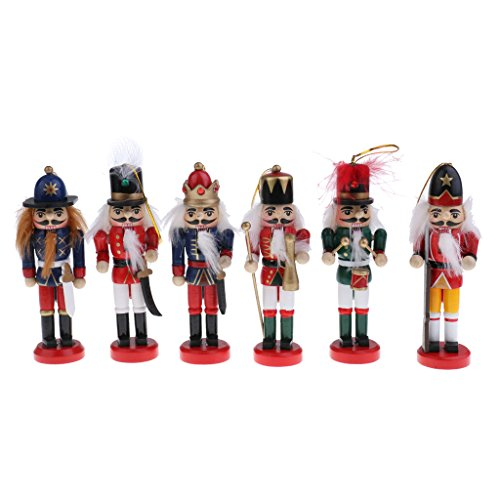 SM SunniMix 4/5/6 Pieces Casse-Noisette Figurines en Bois Deco Set, Décoration De Noël Cadeaux De Noël pour Enfants - 6PCS-12CM