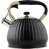 Hervidor LINJJ 304, hervidor de silbido de Gas de carbón de Acero Inoxidable, Cocina de inducción Espesada, hervidor de silbido de Gran Capacidad-Negro