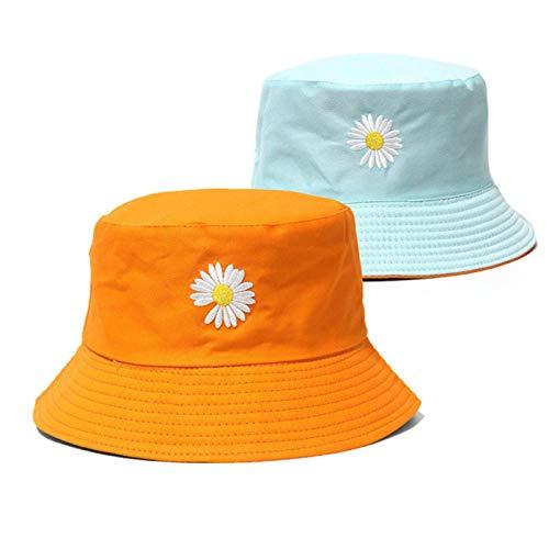 LORSOUL Double-side Unisex Harajuku Bucket Hat Fishing Outdoor Cap women Bucket fishing Hats Sunscreen Daisy embroidery fisherman hat,orange-4