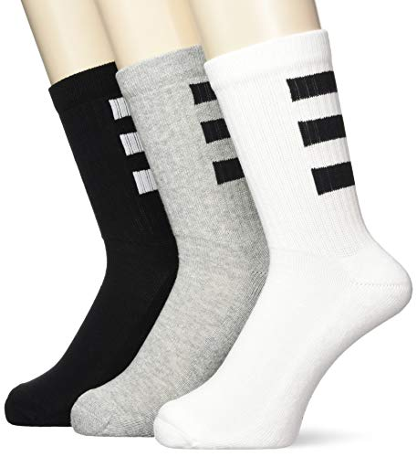 adidas Herren 3S Half Cushioned Crew 3PP Socken, White/Black/Mgreyh, M