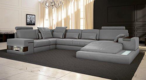 Bullhoff by Giovanni Capellini Ledersofa grau Wohnlandschaft Leder Sofa Couch U-Form Ecksofa Ledercouch Eckcouch mit LED-Licht Beleuchtung Designsofa Hamburg