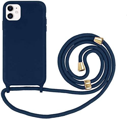 Oihxse Funda con Cuerda Compatible para iPhone 11 Pro Carcasa de Silicona Líquida Suave con Correa Colgante Ajustable Case Moda Ultra Delgado Antigolpes Protección Cover,A7