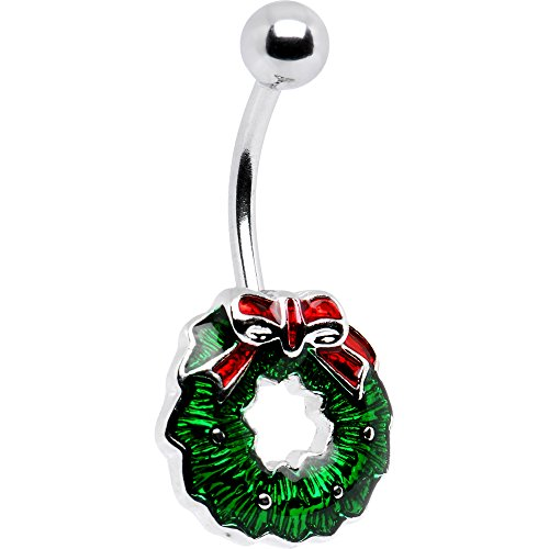 Body Candy Holiday Christmas Wreath Belly Button Ring