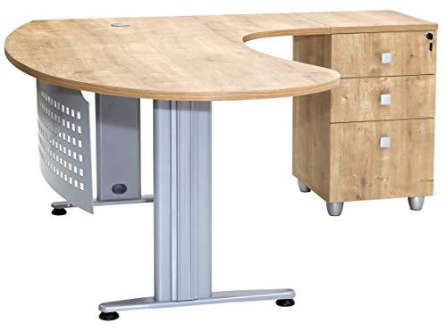 furni24 Schreibtisch Homeoffice Chefschreibtisch Schreibtisch Winkeltisch Gela Eiche Dekor rechts gewinkelt Ink. Beistellcontainer mit 3 Schubladen