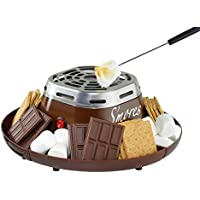 Nostalgia SMM200 Indoor Electric Stainless Steel Smores Maker With 4 Compartment Trays for Graham Crackers, Chocolate, Marshmallows and 2 Roasting Forks (Brown)