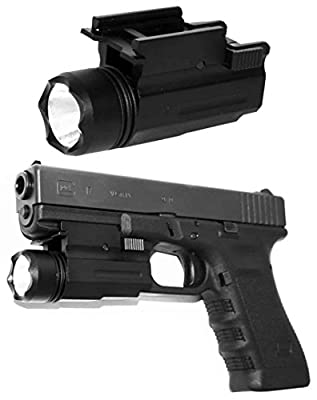 Trinity Ultra Compact Flashlight for Springfield xd xdm Glock Smith and Wesson Home Defense Tactical Optics Accessory Picatinny Weaver Base Mount Adapter Aluminum Black.