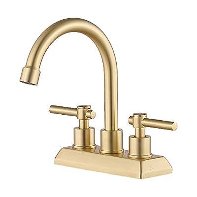VESLA HOME Modern 2 Handles 2 Holes 4 Inch Centerset Gold Bathroom Faucet,Lavatory Bathroom Sink Faucet With Swivel Spout Water Supply Lines Swivel Spout