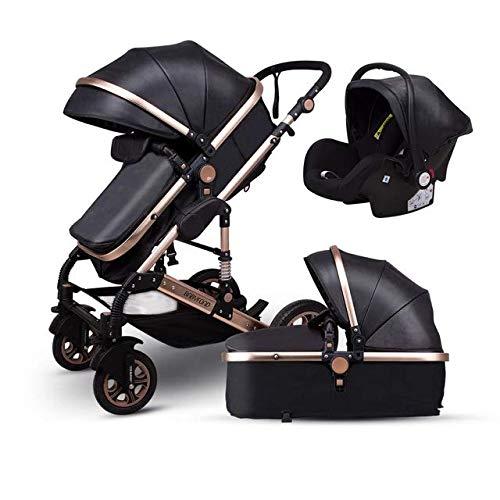 KiWa Luxus Design 3 in 1 Kombi Kinderwagen Babywagen Leder Schwarz veredelt, Abnehmbare Einzelteile, klappbar, feinste Qualität, geprüfte Sicherheit