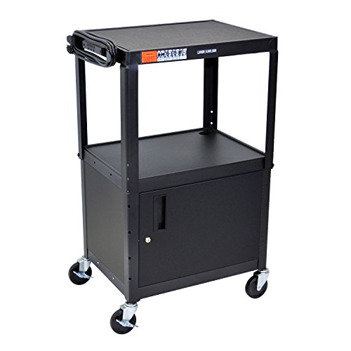 Luxor Multipurpose Adjustable Height Steel A/V Utility Cart with Cabinet - Black