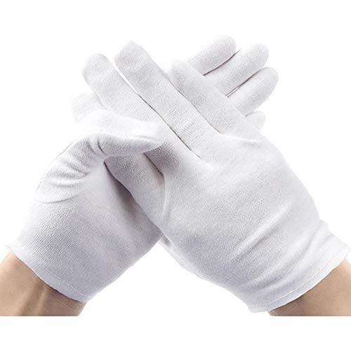Lezed 12 Paires Soft Gants de Coton Blanc Cosmétique Thérapeutique Hydratante Gants 9 '' Gants d'hydratation Cosmétiques pour Les Mains Sèches et l'eczéma Hydratation Inspection de Bijoux et Plus