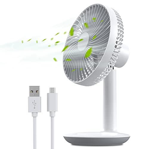 Mini USB Ventilatore da Tavolo con 4 Livelli di Velocità, Ventilatore Portatile Ricaricabile a Batteria 4000mah, 16cm Ventilatore da Scrivania, Silenziosa Ventilatori per Ufficio Casa Esterno Viaggio