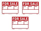 BAZIC 9' X 12' for Sale Sign for Car and Auto Sales (2-Line) (S-2) (3)