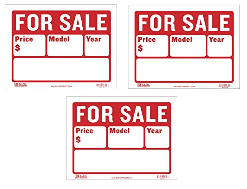 BAZIC 9' X 12' For Sale Sign for Car and Auto Sales (2-Line), S-2, Sold as 3 Pack