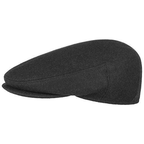 Lipodo Inglese Classic Flatcap Damen/Herren - Flat Cap Made in Italy - Unifarbene Wintercap mit Wolle - Schirmmütze Herbst/Winter - Schiebermütze schwarz 59 cm