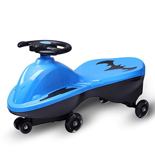 CAIMEI Kids Twist Car, Kinder 's Swing Car Kinder Twist Auto Toy 1-3-7 Schiebepuzzle Fitness Yo Auto Gyro Wiggle Scooter Wheel Mute Wheel (Farbe: Gelb),Blau